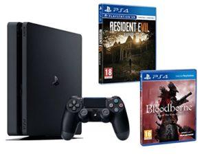 PS4 Slim 1To Noir Playstation 4 PACK 2 jeux – Bloodborne GOTY + Resident Evil VII