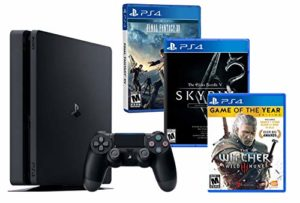 PS4 Slim 1To Noir Playstation 4 RPG Pack 3 Jeux! The Witcher 3 [GOTY] + Final Fantasy XV + The Elder Scrolls V: Skyrim Special Edition