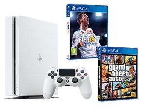 PS4 Slim 500Go Blanche Playstation 4 Pack 2 Jeux – FIFA 18 + GTA V