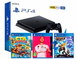 PS4 Slim 500Go Console Playstation 4 Noir (Pack 3 Jeux) + FIFA 20 + Crash Team Racing: Nitro Fueled + Ratchet & Clank