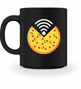 Tasse à pizza WiFi avec inscription humoristique en allemand Salami Nerd Internet Liebe Gaming Italie Cadeau, Céramique, Noir , M