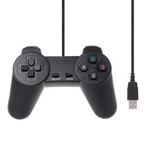 zkm USB 2.0 Gamepad Gaming Joystick Contrôleur de Jeu Filaire pour Ordinateur Portable Noir