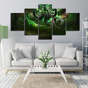 5 pièce Hd photo Wow héros Illidan Stormrage photos Wall Sticker jeu vidéo affiche peintures pour décoration murale(size 3)