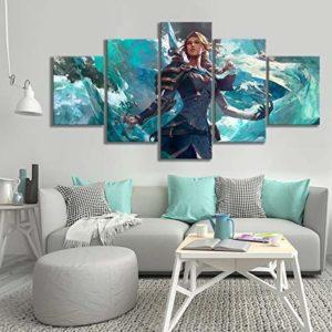 5 Pièces Toile Peinture À L'huile Mur Art Autocollants Jaina Proudmoore Jeux Vidéo Peintures Art Peinture Murale Jeu Affiche(size 3)