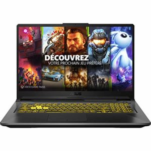 ASUS TUF A17-TUF766II-H7014T PC Portable Gaming 17.3 » (AMD R7-4800H, RAM 8Go, 512Go SSD, NVIDIA GeForce GTX 1650 Ti – 4GB GDDR6 , Windows 10) Clavier AZERTY Français