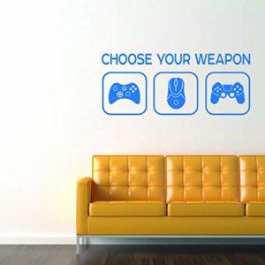Choose Your Weapon Sticker – Choisissez votre arme jeu vidéo Gaming Vinyl Decal – garçons, adolescents, chambre à coucher, Man Cave Room Home PC, Xbox, Playstation (Bleue)