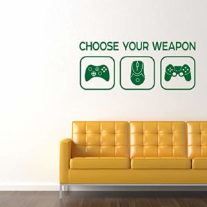Choose Your Weapon Sticker – Choisissez votre arme jeu vidéo Gaming Vinyl Decal – garçons, adolescents, chambre à coucher, Man Cave Room Home PC, Xbox, Playstation (Verte)