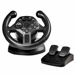 LIfav Mini-Jeu De Course Au Volant, PS3 / PC All-in-One Racing Volant Simule Conduite Poignée D'accélérateur Vibration Frein