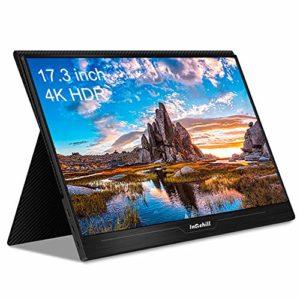 N / A 4K Moniteur 17.3 Pouces FHD 3840 X 2160 IPS avec Entrée HDMI, Double Haut-Parleur Moniteur De Jeu Portable avec HDMI Type-C pour Console De Jeu PS4 Xbox NS Portabl
