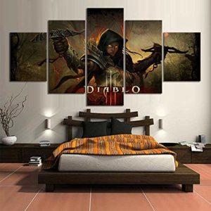Toile Peinture Autocollants Impressions Murales Décoration de La Maison 5 Panneau Démon Jeu Vidéo Mur Art Modulaire Affiche(size 3)