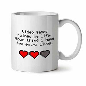 Wellcoda Vidéo Jeux Vies Mug en céramique, 0 Tasse – Grande, poignée Facile à Prendre, Impression Recto Verso, idéale pour Les buveurs de café et de thé by