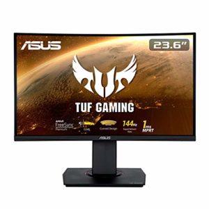 ASUS TUF Gaming VG24VQ – Ecran PC Gamer eSport 23,6″ FHD -Dalle VA incurvée – 144Hz – 1ms – 16:9 – 1920×1080 – Display Port & 2x HDMI – Haut-parleurs – AMD FreeSync – Extreme Low Motion Blur