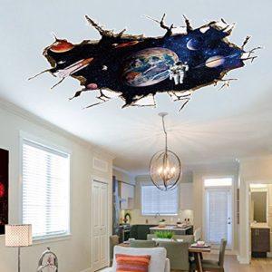AUVS® 3D Amovibles Briser Le Mur Autocollant Vinyle Stickers Muraux /mur Peintures, Art Autocollants Décorateur 9066A Astronaut Sky (60x90cm)