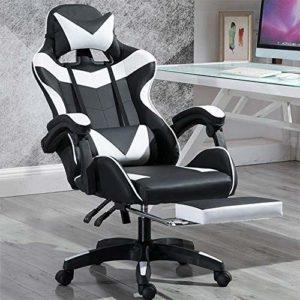 Chaise de jeu Bras réglable Fauteuil inclinable pivotant d'ordinateur Chaise de jeu avec repose-pied Convient for Utilisé for jouer et Regarder des vidéos (noir et blanc), pieds de chaise en acier xia