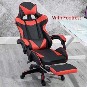 Chaise de jeu en faux cuir Racing Style de jeu Massage Chaise réglable Bras Reclining Chaise pivotante Adapté for Utilisé for jouer et vidéos Watch (rouge et noir), pieds de chaise en acier xiao1230