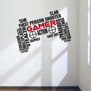Designdivil Wall Art Sticker mural en forme de manette de jeu, Vinyle, Large: 90cm x 57cm