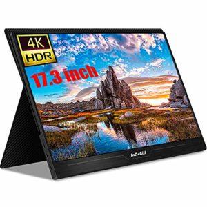 FXMJ Moniteur Ultra Mince De 17,3 Pouces, Écran De Jeu Portable HDR 4K IPS, Haut-Parleur Intégré, Vision Large De 178 Degrés, Compatible avec Ordinateur Portable, PC, PS4, NS, Xbox
