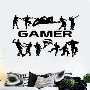Gamer Gaming Poster Wall Sticker Enfants Chambre Stickers Gamers Garçons Chambre Vinyle Sticker Mural Papier Peint Autocollants M 30Cm X 45Cm Noir