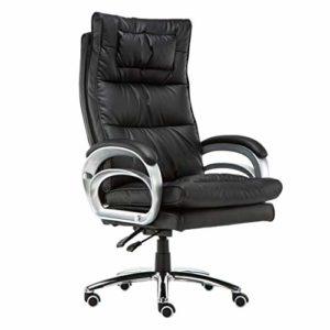 GUOOK Chairs Furniture – Fauteuil de Bureau rembourré de Style Executive |Chaise de Massage pour Jeu sur Ordinateur (Soutien Lombaire pour Massage, Noir)