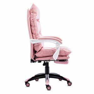 GUOOK Chaises Adorable Rose Chaise D'ordinateur pour Filles Home Office Desk Chaise E-Sport Jeu Chaise en Cuir Collé Chaise Pivotante 90-155 Degrés Tilt Lock