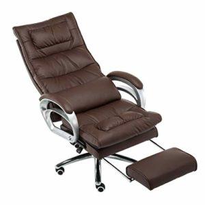 GUOOK Furniture – Chaise de Bureau rembourrée avec Fauteuil inclinable |Chaise de Massage pour Jeu sur Ordinateur (Soutien Lombaire pour Massage, Brun)