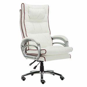 GUOOK Mobilier conçu Chaise de Jeu avec Massage Soutien Lombaire Chaise de Bureau pivotant Rembourrage Simili Cuir Simili en Blanc + Rouge Chaise de Bureau d'ordinateur de Couleur
