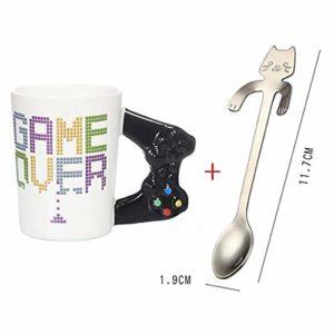 HHGHF 380Ml Jeu sur Tasse en Céramique Style De Jeu Contrôleur De Manette De Jeu 3D Poignée Café Jus De Lait Tasse Bureau Tasse À Thé Gamer Cadeau d'anniversaire-Vert_Mug_with_Spoon