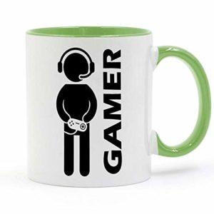 HHGHF Jeu Vidéo Gaming Gamer Tasse Café Lait Tasse en Céramique Créative Bricolage Cadeaux Décor À La Maison Tasses 11Oz Ga047-Green_301-400Ml