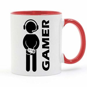 HHGHF Video Game Gaming Gamer Mug Coffee Milk Ceramic Cup Creative DIY Gifts Home Decor Mugs 11Oz Ga047-Red_301-400Ml