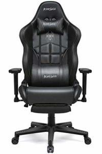 Kirogi Chaise Gaming, Chaise Gamer avec Repose-pieds, Chaise de Bureau ergonomique avec Support Lombaire, Chaise de Jeu PC Inclinable pour adultes, Chaise de Bureau Haute en Cuir Fibre de Carbone.noir