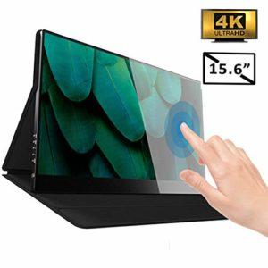 N / A 4K Touchscreen HDMI Portable Monitor 10 Points Le Plus Fin De 15,6 Po UHD 2160P, Écran De Soins Oculaires IPS, Moniteur De Jeu HDR avec USB C HDMI Compatible avec PS4/XBOX/Pc/Téléphone Portable