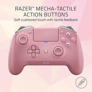 Razer Raiju Tournament Edition Quartz – Manette de Jeu Bluetooth Sans Fil et Filaire Avec Boutons d'Action Tactile Mecha, Compatible Avec PS4 et PC (rosa)