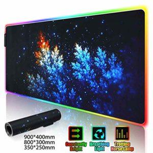 Tapis de souris Gaming Mouse Pad LED RGB Grand Gamer Tapis De Souris USB LED d'éclairage rétro-éclairé arc-en-ordinateur Tapis en caoutchouc Clavier Tapis de bureau (Color : 800x300x4mm)