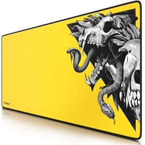 TITANWOLF – Tapis de Souris Gaming Wolf Skull Yellow 900x400mm – sous-Main Bureau Gamer Extra Large XXL en Tissu, Base antidérapante – Précision et Confort – pour Tous Types de Souris et Claviers