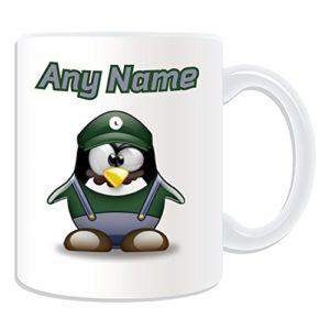 UNIGIFT Mug Luigi (jeu vidéo de pingouin avec personnage de personnage blanc) Nom Message unique drôle fantaisie super héros super ordinateur RPG Jumpman Bros Yoshi Mario Plombier