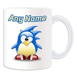 UNIGIFT Mug sonique (jeu vidéo de pingouin avec personnage de personnage blanc) Nom Message unique drôle fantaisie super héros super ordinateur RPG franchise auberger hérisson