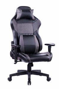 Wolmics Chaise de Jeu de Massage avec Repose-Pieds en Mousse à mémoire de Forme Dossier réglable pour Ordinateur et Jeux vidéo