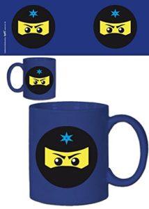 1art1® Set: Gaming, Icône Ninja, Bleu Tasse À Café Mug (9×8 cm) + 1x Sticker Surprise