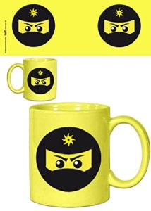 1art1® Set: Gaming, Icône Ninja, Jaune Tasse À Café Mug (9×8 cm) + 1x Sticker Surprise
