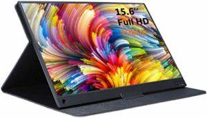 AILRINNI 15,6 Pouces Moniteur Portable – HDMI 1920 x 1080P IPS Full HD Écran avec USB-C, Haut-parleurs Intégrés Moniteur de Jeu pour Raspberry Pi PS4 Xbox Laptop Phone Switch (Noir)