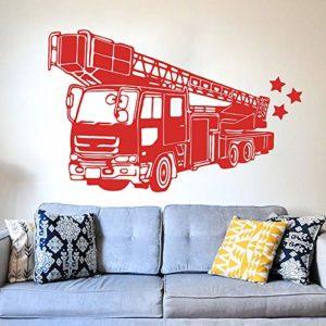 ASFGA Camion de Pompier Sticker Mural Salle de Jeux Chambre Camion de Pompiers Bouche d'incendie Voiture véhicule Sticker Mural Salon garçon 57X36CM