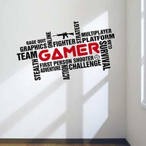 Awesome Pro Gamer Décoration murale Word Cloud Autocollant pour salle de jeux Chambre à coucher Man Cave, med:57cm x 33cm