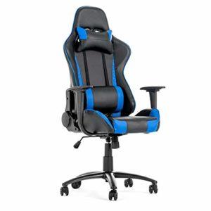 Fauteuil de Bureau Jeu Gaming Pivotant Massant Chair Repos Bleu Noir
