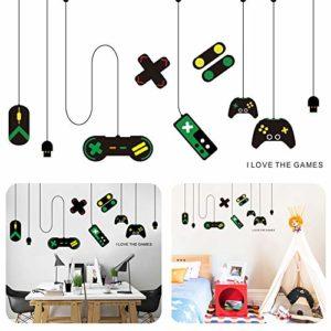 Gamer Stickers muraux, BESLIME Stickers Muraux avec PVC Sticker Mural, Auto-adhésif Stickers muraux Personnalité Décoration Autocollant texte Gamer Controller