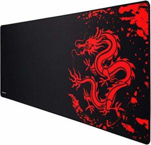 JIALONG Tapis de souris Gaming XL Grand Sous Main Bureau Tapis souris Gamer 700×300 Rouge
