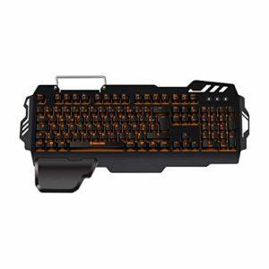 Konix WoT K-50 – Clavier Gamers AZERTY Retro Éclairé Orange – Anti Ghosting – Clavier Semi-Mecanique Gaming Pour PC, Mac – Repose Poignet – Clavier Gamer LED Filaire