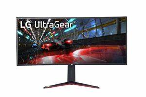 LG UltraGear 38GN950G-B, Moniteur incurvé Gaming 21:9 NANO IPS QHD+ 38»(3840×1600, 1ms, 144Hz, Nvidia Gsync, FreeSync, DCI-P3 98%, HDMI, Display Port, USB3.0, HDR400, Ajust Hauteur, Sphere Lightning)