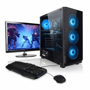 Megaport Super Méga Pack – Unité centrale pc gamer complet • Ecran LED 22″ • Claviers de jeu et Souris • AMD FX-6300 • GeForce GTX1050 • 8Go • 1To • Windows 10 ordinateur de bureau pc gaming