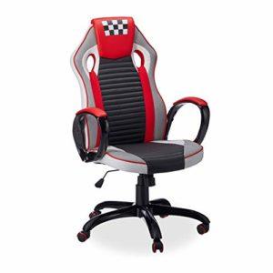 Relaxdays Chaise Gaming, Gamer Hauteur Réglable, Fauteuil Style Racing, Chaise ordinateur, ergonomique, noir-blanc-rouge
