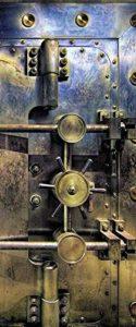 Scenolia Stickers Affiche Autocollante de Porte – Coffre Fort Blindé Chambre Forte 85 x 205 cm – Décoration Murale Poster Adhésif Trompe l'Oeil – Pose Facile et Qualité HD